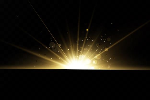 황금 빛 효과의 집합입니다. 섬광과 눈부심. 밝은 광선. 빛나는 라인. 삽화. 크리스마스 플래시. 먼지.