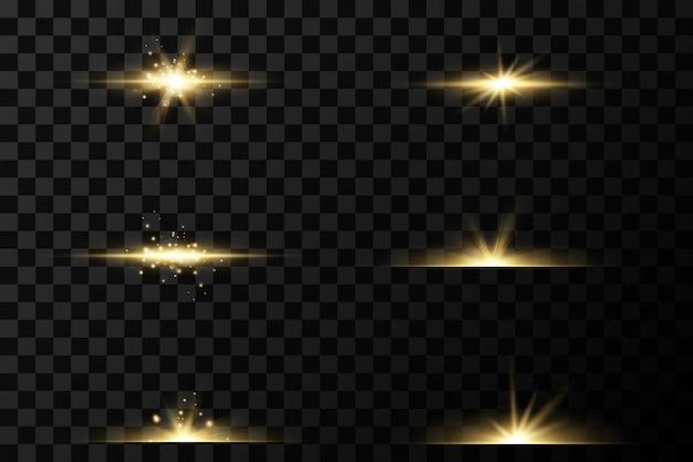 Набор золотых световых эффектов. вспышки и блики. яркие лучи света. светящиеся линии.