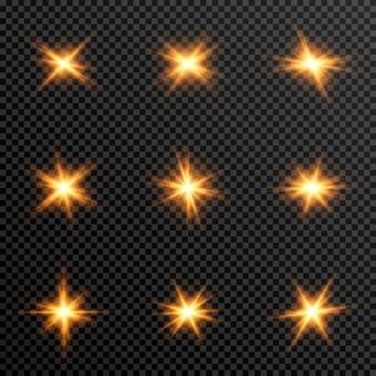 金色のライトのセット