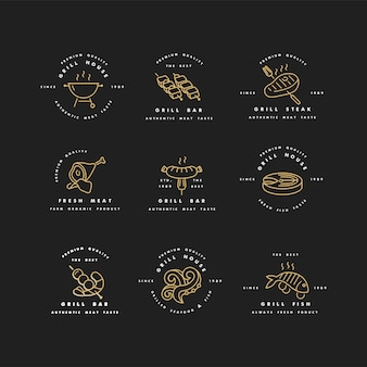 Набор золотых логотипов и шаблонов для гриль-хауса. мясные эмблемы или значки стейка, колбасы. рыба и другие виды мяса.