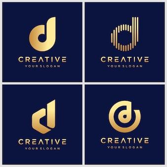 ゴールデンモノグラム創造的な手紙dロゴインスピレーションのセットです。