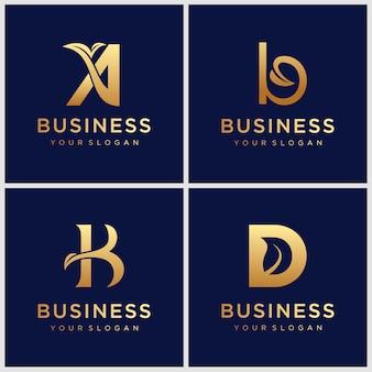 葉のロゴデザインインスピレーションと黄金のモノグラム文字bのセット