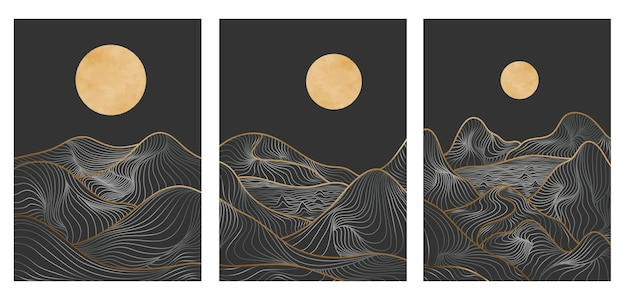 Набор золотых горных линий искусства, абстрактные горные современные эстетические фоны, пейзажи. использовать для печати, обложки, фона приглашения, ткани. векторная иллюстрация