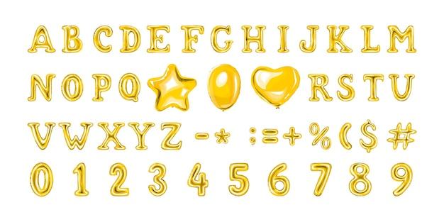 황금 숫자와 문자 풍선의 집합입니다. 심장과 별 모양의 헬륨 풍선.