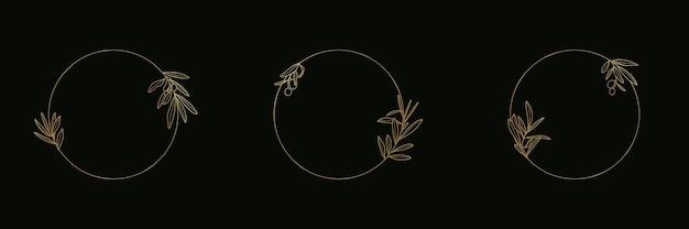 트렌디한 선형 스타일의 잎과 과일 아이콘과 배지가 있는 황금 올리브 가지 세트. 기름, 화장품, 유기농 식품, 청첩장 및 카드 포장용 벡터 라운드 꽃 로고 엠블럼
