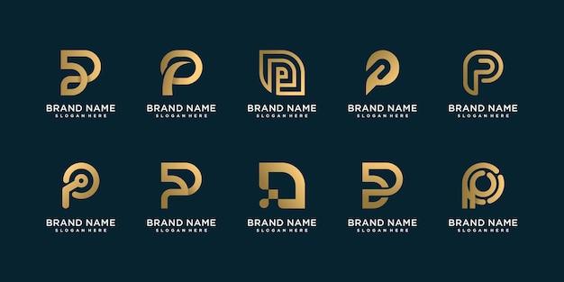 회사 또는 사람을위한 황금 p 로고 템플릿 세트