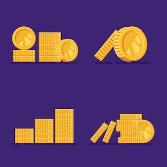 コインの金の山のセット、お金のヒープのコレクション