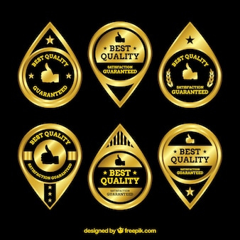 Set of golden premium stickers