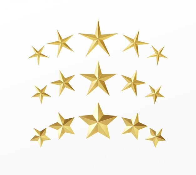 白い背景に分離された別の光線で現実的な黄金の星のセット。