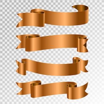 Набор векторных золотых лент.