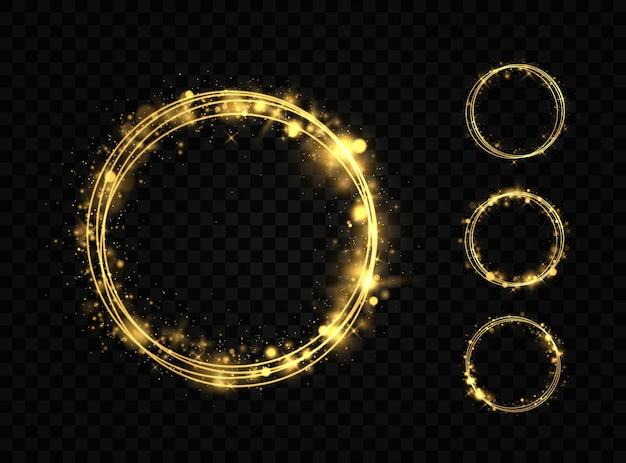 황금 반지 세트입니다. 반짝이 조명 효과와 골드 서클 프레임. 황금빛 섬광이 빛나는 고리에서 원을 그리며 날아갑니다.
