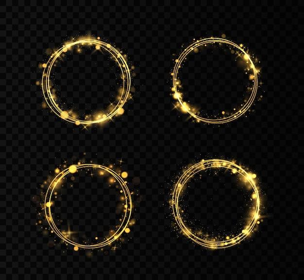 金の指輪のセット。キラキラ光の効果を持つゴールドサークルフレーム。