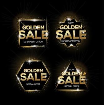 황금 판매 태그의 집합입니다. 판매, 할인 또는 마케팅을위한 쇼핑 배지.