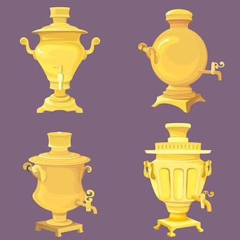 Набор золотых самоваров. традиционные русские старинные предметы.