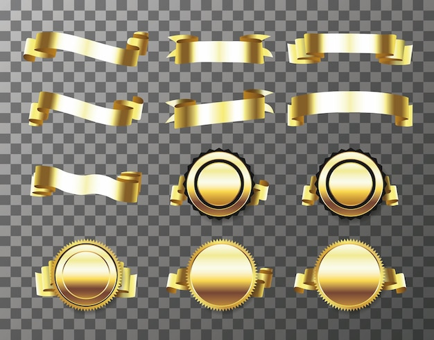Набор золотой печати с лентами, изолированные на прозрачном фоне