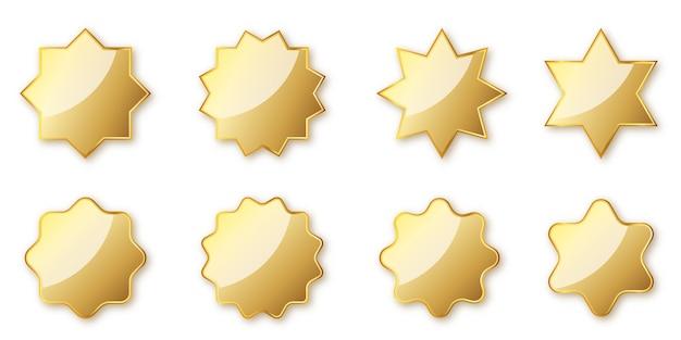 ゴールデンシールのセットです。光沢のあるスタンプが分離されました。図。ゴールデン賞。