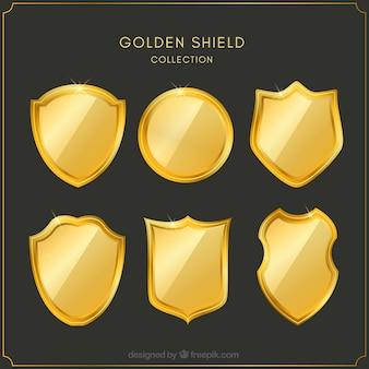 평면 디자인에 황금 방패 세트