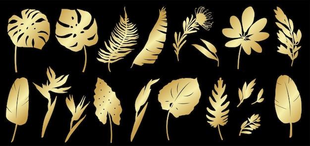 Набор золотых силуэтов тропических листьев, пальм, растений, цветов, бананов, растений, монстера