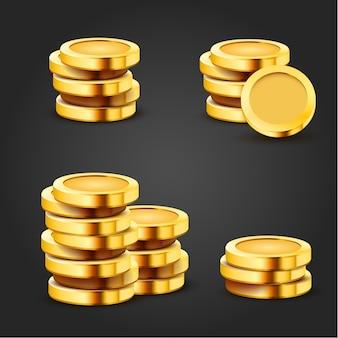黒で隔離の黄金のスタック1ドル硬貨のセット。