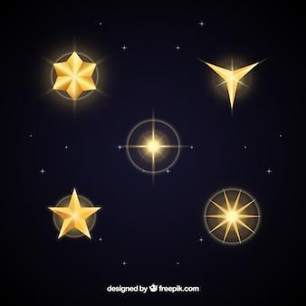 Набор золотых звезд в плоском дизайне