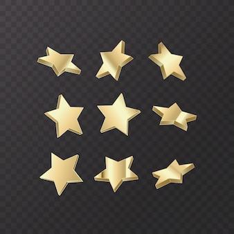 Набор золотых звезд на темном фоне, векторный формат