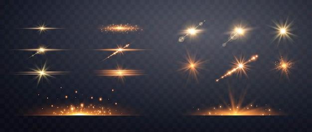 Набор золотых прозрачных световых бликов. изолированные на прозрачном фоне