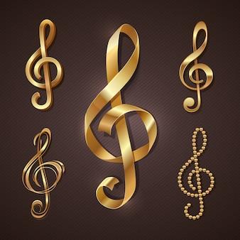 黄金の高音部記号のセットです。図。