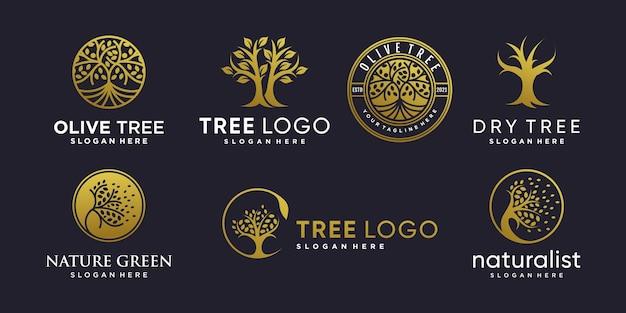 創造的な抽象的な要素スタイルプレミアムベクトルと黄金の木のロゴのセット