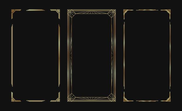 Набор золотых векторных рамок для рассказов в социальных сетях. изолированные границы ар-деко для дизайна.