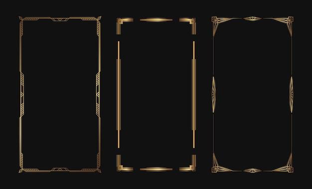 ソーシャルメディアの物語のための黄金のベクトルフレームのセット。デザインのための孤立したアールデコの境界線。