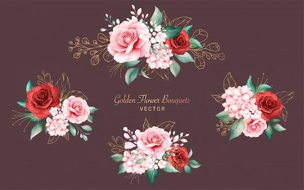 Набор золотых акварельных букетов композиции. ботанический декор иллюстрация персика и красных роз, листьев, веток и блеска