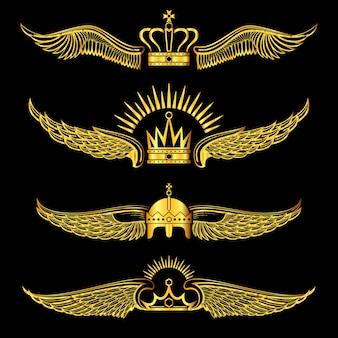 Set of golden winged crowns logos black background