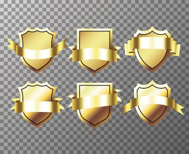 Набор goldenseal с лентами, изолированные на прозрачном фоне Premium векторы