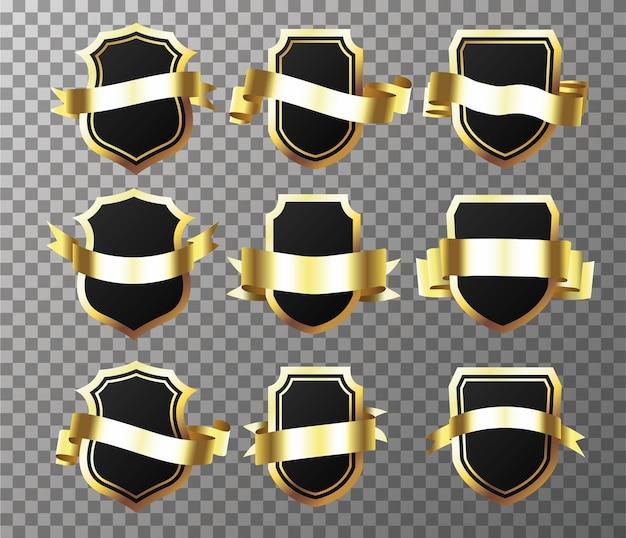 Набор goldenseal с лентами, изолированные на прозрачном фоне