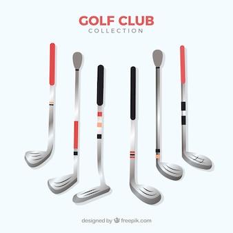 フラットスタイルのゴルフクラブ要素のセット
