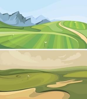 ゴルフコースのセット。漫画のスタイルのスポーツフィールド。