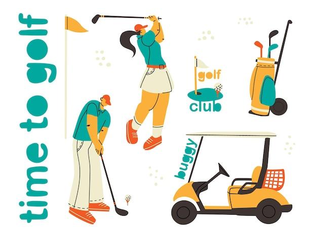 골프 요소와 선수의 집합입니다. 불균형한 사람들의 트렌디한 스타일.