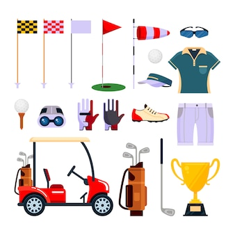 白い背景で隔離のフラットスタイルのゴルフ用品のセットです。ゴルフ、スポーツゲームの服やアクセサリー。ゴルフのアイコンコレクション。