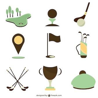 ベクトルのゴルフアイコンのセット