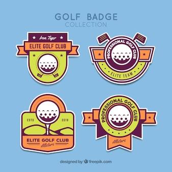 フラットスタイルのゴルフラベルのセット