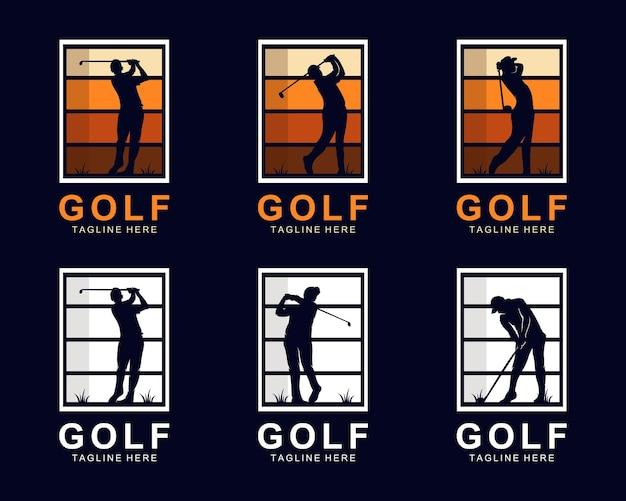 ゴルフシルエットロゴデザインベクトルのセット