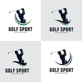 ゴルフスポーツシルエットロゴデザインテンプレートのセット