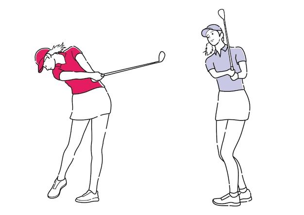 ゴルファーのセットは、白い背景で隔離の簡単な線画をベクトルします。
