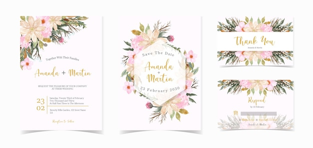 화려한 꽃 결혼식 초대 카드 세트