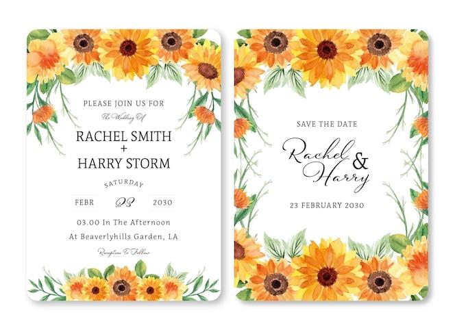 ゴージャスな夏の花の結婚式の招待状のセット