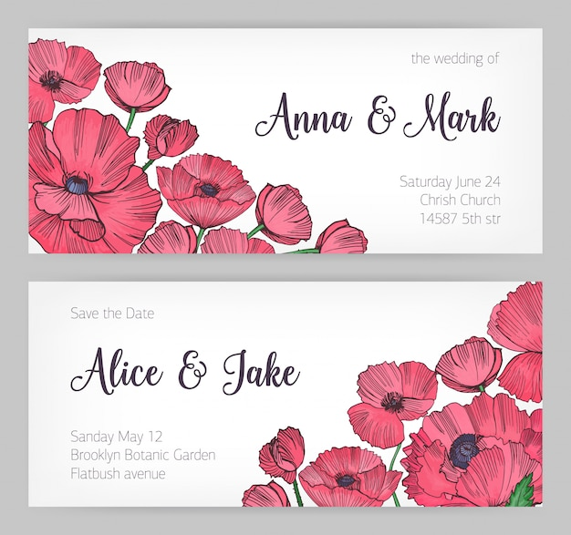 Набор великолепных шаблонов для карты save the date, свадебного приглашения