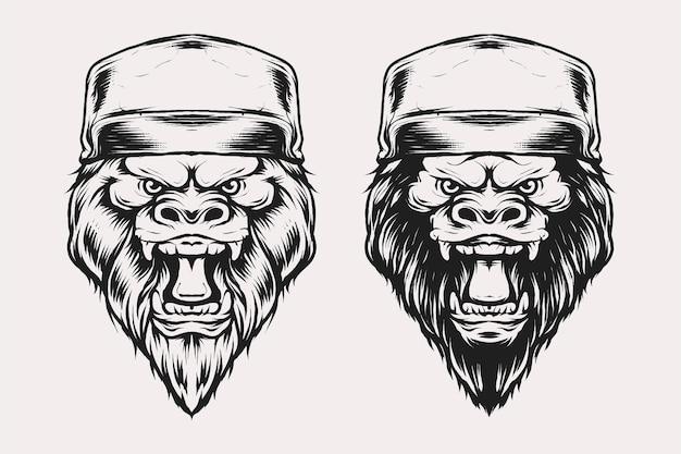 빈티지 흑백 스타일의 모자 벡터 삽화가 있는 고릴라 머리 세트. 티셔츠, 지문, 사인, 엠블럼 로고 및 기타 의류 제품에 적합