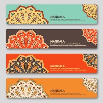 手描きの曼荼羅とゴリゾンタルカードのセット。オリエンタルスタイル、ヴィンテージの装飾的な要素。インド、アジア、アラビア、イスラム、オットマンのモチーフ。