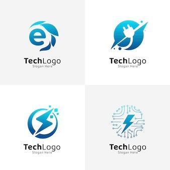Набор шаблонов логотипов градиентной электроники