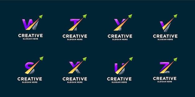 グラデーションの文字と矢印のロゴデザインのインスピレーションのセット。モダンなモノグラムロゴ